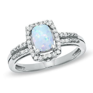 Cushion-Cut Lab-Created Opal and White Topaz Frame Ring in Sterling Silver