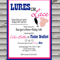Gender Reveal Invitations, lures or laces invite, gender reveal party, printable, diy