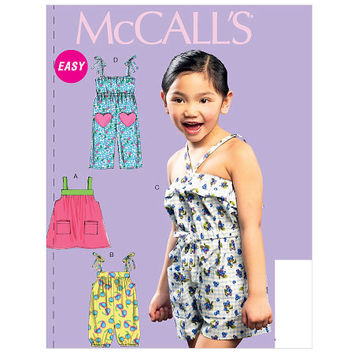 McCalls 6733 Sundress Pattern, Toddler Dress Pattern, Romper Pattern, Paper Pattern, sz 2 to 5, Toddler Jumpsuit, Toddler Pants