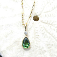 Edwardian Tourmaline Diamond Pendant Necklace, Rich Green Color, Old Cut Diamonds, Solid Gold, Very elegant