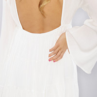 social butterfly flare dress - ivory