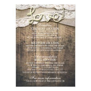Rustic Wood Love Rope Wedding Details Information Card