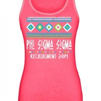 Phi Sigma Sigma Native Neon Poly-Cotton Unisex Tank Top Design | Great Pricing | Customize Now