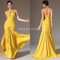 2015 Yellow Halter Mermaid Prom Dresses Size available Chiffon flowing Evening Formal Dresses WHL06