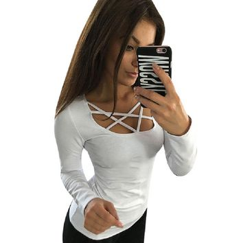 Women Hoodies Long Sleeve Tops  Hollow Out Bandage Pullovers Slim  Tops Tees Femme Blusas plus size LJ4515M