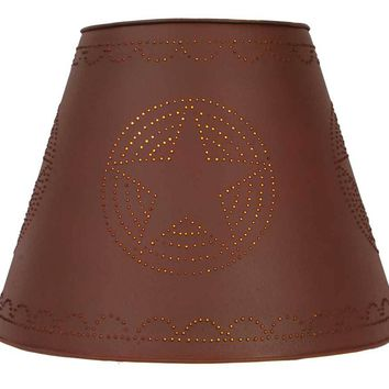 "9"" x 17"" x 12"" Tin Washer Top Lamp Shade - Red Star"