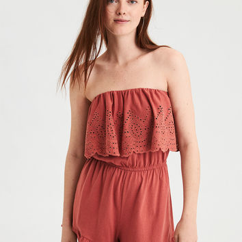 AE Knit Off-The-Shoulder Romper, Rust