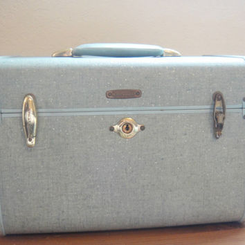 Samsonite Streamlite Train Case - 1950s Light Blue/Green - Mid Century