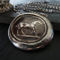 Equestrian Horse Wax Seal Pendant Necklace