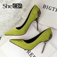 She Era Fashion sexy women pumps carved metal scarpe donna thin high-heeled women suede shallow mouth pointed wedding shoes