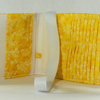 Women's Wallet  Organizer with Card Slots - 2 in 1 - Yellow and White Palms
