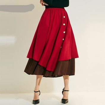 Vintage Retro Linen Skirt Casual High Waist A Line Contrast Color Two Layer Skirt Female Ankle Length Skirt with Button