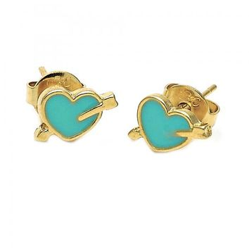 Gold Layered Stud Earring, Heart Design, Gold Tone