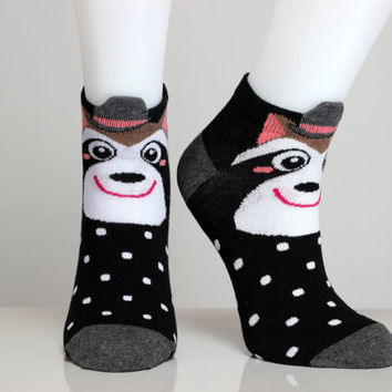 Racoon Socks Racoon Hat Black Socks White Polka Dots Smiley Face Girls Socks Women Socks Funny Socks Ankle Socks Animal Socks Cute Fun Socks