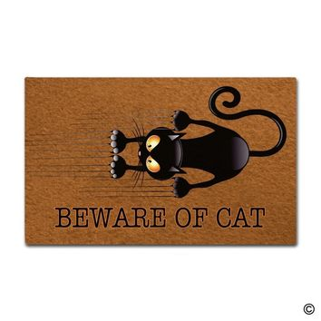 Entrance Doormat - Funny and Creative Doormat - Beware Of Cat Door Mat for Indoor Outdoor Use Non-woven Fabric