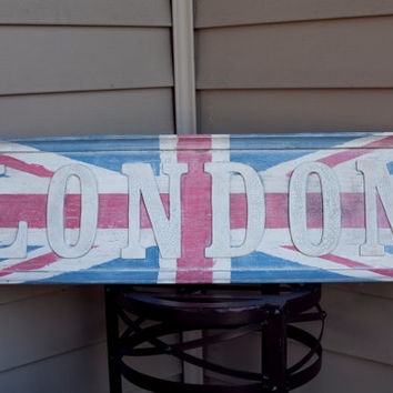 Union Jack London Wooden Sign Hand Painted Old Vintage Wood Sign Wall Art