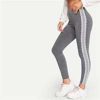 Grey Lace Applique Side Marled Leggings Women Midi Waist Sporting Fitness Workout Basics Leggings