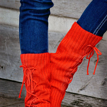 Lace Up Boot Socks Leg Warmers Red