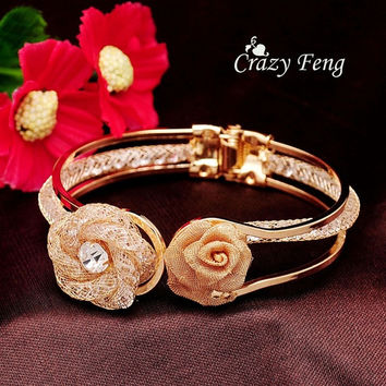 Fashion Women's Yellow Gold Plated Crystal Roses Wrist Cuff Bangles & Bracelets Jewelry Gifts = 1946093572