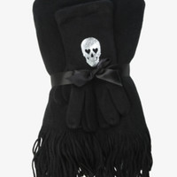 Torrid Women's Skull Scarf & Gloves Set