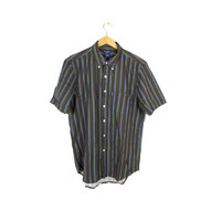 90s GUESS linen button down shirt - vintage 1990s grunge - vertical stripes - basic - slim fit - mens medium - large