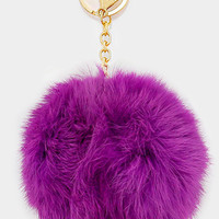 Large Rabbit Fur Pom Pom Keychain, Key Ring Bag Pendant Accessory - Purple