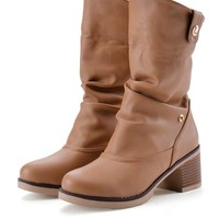 New Women Apricot Round Toe Chunky Casual Mid-Calf Boots