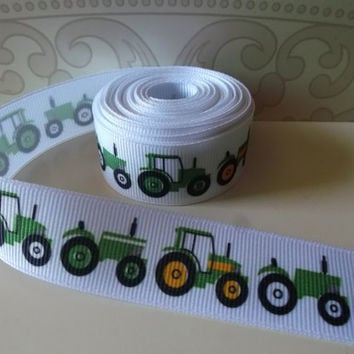 "2 yards - 7/8"" Green Tractor on white grosgrain ribbon - farm - western - John Deere green"