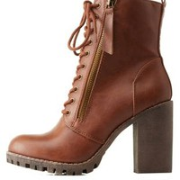 Tan Zipper-Trim Chunky Heel Combat Boots by Charlotte Russe