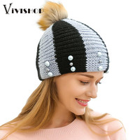2016 New Fashion Womans Warm Woolen Winter Hats Knitted Fur Cap For Woman Contrast Stripe Pom Pom Bead Skullies & Beanies Gorros