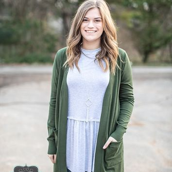 Army Green Long Sweater Cardigan