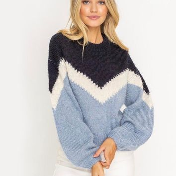 Lush Clothing - Chevron Print Knit Pullover Sweater in Navy Blue