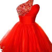 Sunvary 2016 One Shoulder Tulle Pageant Dress Cocktail Homecomng Gown Mini Bridesmaid Prom Gowns for Sweety 16 US Size 4- Red