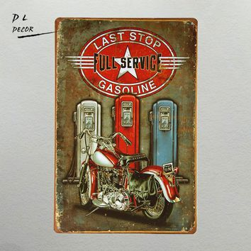 DL-Last stop gasoline full service Metal Tin Sign for the Man Cave/Garage