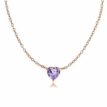 Dainty Amethyst Small Heart Choker Necklace in Rose Gold Plated Sterling Silver