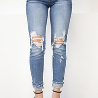 Low Rise Hole Distressed Skinny Denim