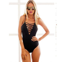 Fashion Sexy Sling Bandage Solid black one-piece swimsuit