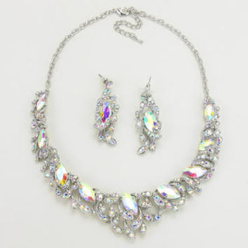 Clear ice crystal collar necklace set