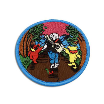 "GRATEFUL DEAD PATCH: Iron On, ""Jerry & Bears"", Handmade, Embroidered, Patches, Vintage, Jerry Garcia, The Dead, Gift Idea"