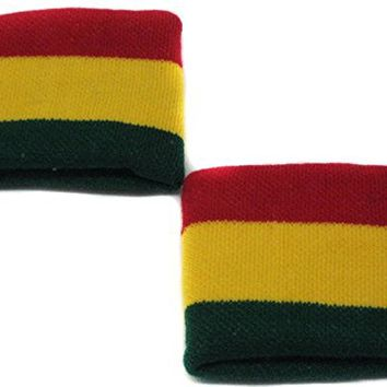 Rasta Color Wristband Sweatband PAIR