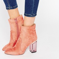Public Desire Claudia Pink Clear Heel Ankle Boot at asos.com