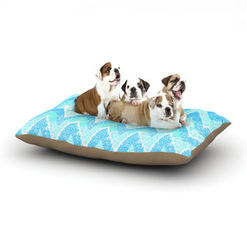 "Marianna Tankelevich ""Mint Snow Chevron"" Blue Chevron Dog Bed"