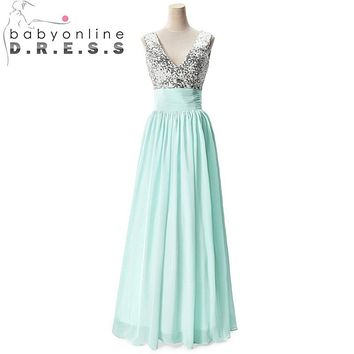 Robe de Soiree Longue Sexy Chiffon Mint Green Bridesmaid Dresses 2017 sequin Wedding Party Dress Robe Demoiselle D'honneur