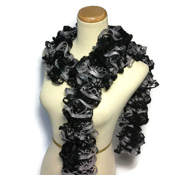 Black Scarf, Ruffle Scarf, Hand Knit Scarf, Knit Scarf, Women, Fashion Scarf, Fiber Art, Spring, Mothers Day