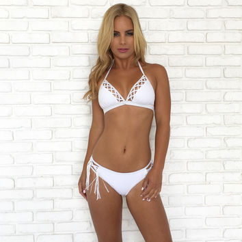 Cut Out Bikini Set In White
