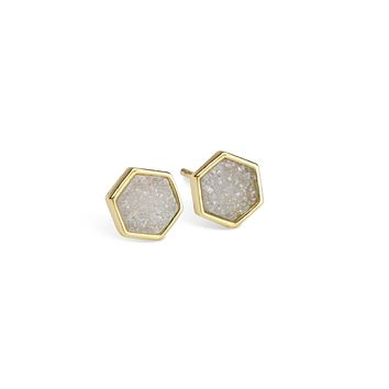 Geo Champagne Hex Druzy Earrings