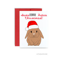 Pun christmas card - funny silly holiday greeting card - Some bunny hates christmas grumpy xmas red rabbit bunny card