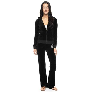 Juicy Couture Studded Logo Crown Flower Velour Tracksuit 8604 2pcs Women Suits Black