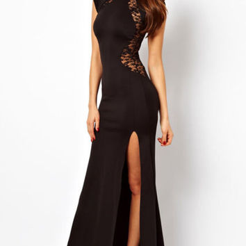 Black Cap Sleeve Back Cut Out Lace Maxi Dress With Side Slit