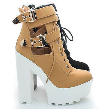 Pacifica07 Round Toe Lace up Strappy Ankle Chunky Lug Sole High Heel Bootie